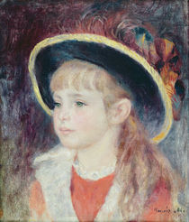Portrait of a Young Girl in a Blue Hat by Pierre-Auguste Renoir