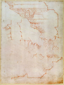 Inv. 1859 6-25-560/2. R. Drawing of architectural details by Michelangelo Buonarroti