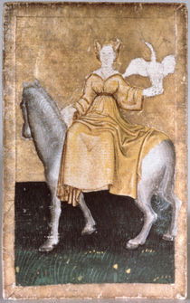 A mounted lady holding a heron on one hand by Konrad Witz