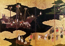 The Arrival of the Portuguese in Japan von Japanese School