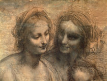 Detail of the Heads of the Virgin and St. Anne by Leonardo Da Vinci
