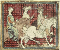 Fol.31r Chilperic I and Fredegonde on Horseback by French School