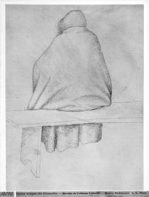 Monk seated on a bench, seen from behind von Antonio Pisanello