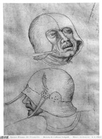 Two heads of soldiers wearing helmets by Antonio Pisanello
