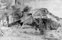 Cottage on the Outskirts of a wood by Rembrandt Harmenszoon van Rijn
