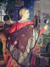 Merchant's woman with a mirror by Boris Mikhailovich Kustodiev