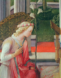 The Annunciation, detail of the Angel Gabriel by Fra Filippo Lippi