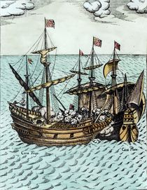 A Spanish Treasure Ship Plundered by Francis Drake in the Pacific by Dutch School