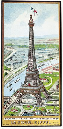 Postcard depicting the Eiffel Tower at the Exposition Universelle von French School