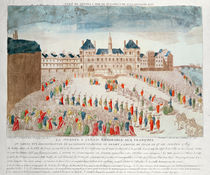 Perspective view of the arrival of Louis XVI at the Hotel de Ville by French School