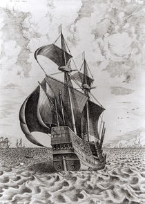 Ship, engraved by Hieronymus Cock by Pieter the Elder Bruegel