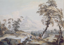 Italianate Landscape with Travellers von Paul Sandby