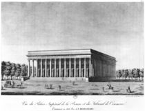 View of the Bourse Imperial Palace and the Commercial Court by Jacques Louis Constant Le Cerf