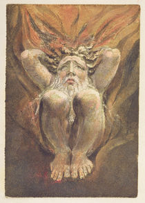 'A naked man crouched in flames by William Blake