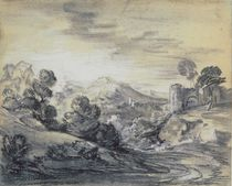 Wooded Landscape with Castle by Thomas Gainsborough