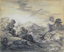 Wooded Landscape with Castle von Thomas Gainsborough