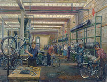 The Moscow Cycle Works, c.1930 by Nikolay Vassilyevich Pinegin