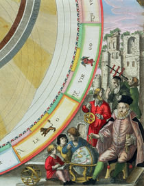 Tycho Brahe , detail from a map showing his system of planetary orbits von Andreas Cellarius