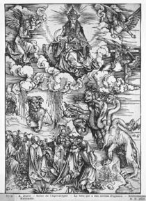 Scene from the Apocalypse, The seven-headed and ten-horned dragon von Albrecht Dürer