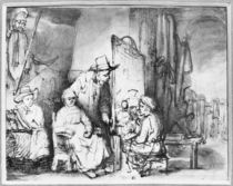 Interior of a studio with a painter painting the portrait of a couple von Rembrandt Harmenszoon van Rijn