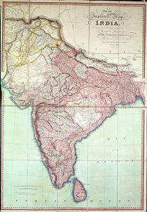 Improved Map of India published in London 1820 by English School