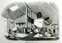 Inside a Tahitan Hut, from 'Voyages dans Les Deux Oceans' by French School