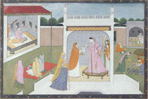Palace Lady with her maids by Indian School