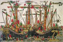 Battle of Zonchio, 1499 von Italian School