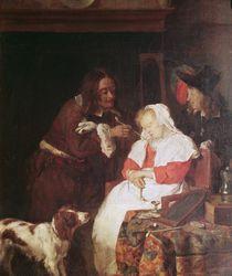 Two Men with a Sleeping Woman von Gabriel Metsu
