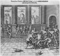 King Atahualpa executed in Cajamarca by order of Francisco Pizarro by Theodore de Bry