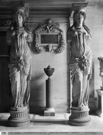 View of two caryatids from the Caryatids' Tribune in the Louvre Museum by Adolphe Giraudon