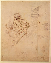 Studies for a Virgin and Child and of Heads in Profile and Machines by Leonardo Da Vinci