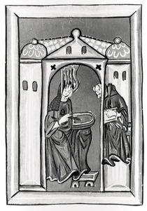 Hildegard of Bingen receiving the Light from Heaven von German School