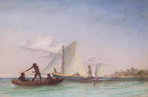 The Long Boat of the Messenger attacked by Natives von Thomas Baines