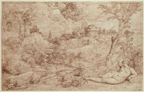 Landscape with a Dragon and a Nude Woman Sleeping von Titian