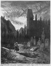 The Wandering Jew in the cemetery by Gustave Dore