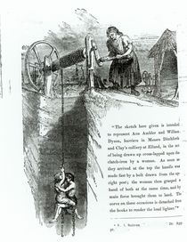 A boy and girl being wound up a mine shaft von English School