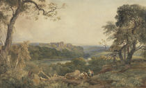 Castle above a River, Woodcutters in the Foreground by Peter de Wint