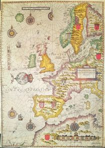 A Generall carde, and description of the sea coastes of Europe by Jodocus Hondius