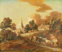An Imaginary Wooded Village with Drovers and Cattle by Thomas Gainsborough