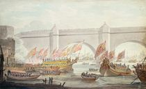 The Lord Mayor landing at Westminster by English School