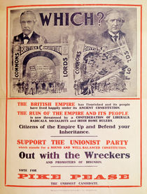 Unionist Party Poster for the British General Election of January 1910 by English School