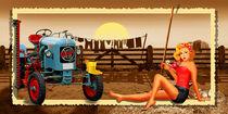 Pin Up Girl mit Oldtimer Traktor auf dem Bauernhof by Monika Juengling