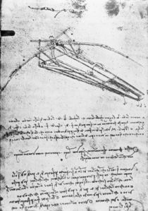 MS B 2173, folio 74v: Study for a flying machine von Leonardo Da Vinci
