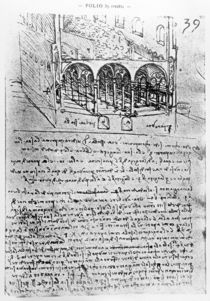 Studies for stables, Folio 39r by Leonardo Da Vinci