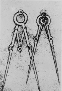 Two types of adjustable-opening compass by Leonardo Da Vinci