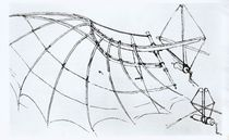 Diagram of a mechanical wing von Leonardo Da Vinci