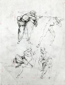 Study of a man blowing a trumpet in another's ear von Leonardo Da Vinci