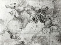 Battle between a Rider and a Dragon von Leonardo Da Vinci