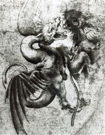 Fight between a Dragon and a Lion von Leonardo Da Vinci